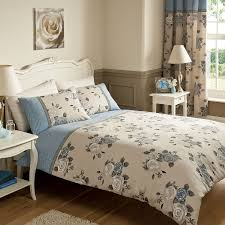 Bedding With Matching Curtains Bouquet Bedding Complete Set In Blue And Beige Color Based