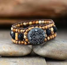 leather wrap bracelet women images Handmade picture japser and lava stone leather wrap bracelet the jpg