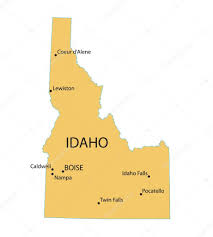 map of idaho cities yellow map of idaho with indication of largest cities stock