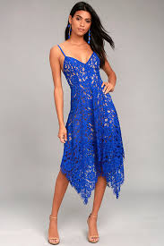 blue lace dress lovely royal blue lace dress midi dress handkerchief hem dress