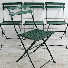 Cafe Chairs Wooden Set Of 4 Vintage French Folding Cafe Chairs In The Original Green