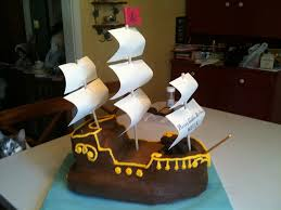 finished pirate ship cake with paper sales pirate ship cakes