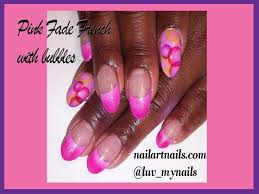 airbrush nail art u0027 u0027 how to pink french with bubble accent nails