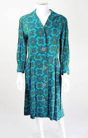1940s dresses 1940s turquoise olive crest print day dress 1940s dress 40s