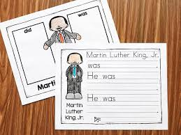 martin luther king jr writing paper martin luther king kindergarten printables simply kinder martin luther king no prep printables learn about mlk and practice essential kindergarten and first