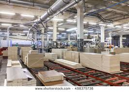 Packaging Production Line On Furniture Fabric Stock Photo - Factory furniture