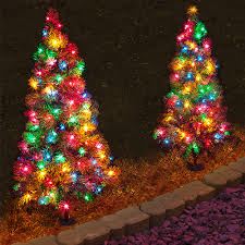 ft pathway tree with 50 multi colored led lights 2 pack