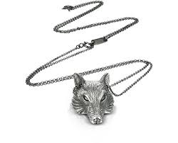 silver wolf pendant necklace images Ugo cacciatori sterling silver wolf pendant necklace at forzieri