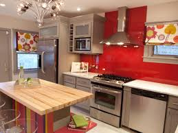 kitchen glossy red wall painted kitchen decor with grey cabinets
