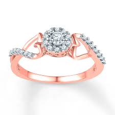 kay jewelers promise rings kay diamond promise ring 1 6 ct tw round cut 10k rose gold