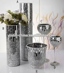Mosiac Vase Silver Mirror Glass Mosaic Vase Crakle Candle Holder For Wedding