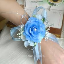 wrist corsages for homecoming dhl 16pcs silk flower corsage with bling for prom wrist