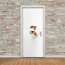 deco porte de chambre 3d casser la porte peeping porte autocollants chambre rénovation