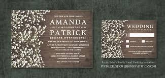 barn wedding invitations baby s breath wedding invitations vintage rustic wedding invitations