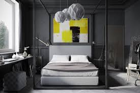 Bedroom With Yellow Accent Wall Masculine Bedroom Design Idea Feat Gray Wood Flooring And Round