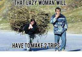 Funny Women Memes - that lazy woman will have to make 2 trips funny lazy memes images