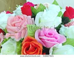 Plastic Flowers Colorful Artificial Flowers Colorful Flowers Bouquet Stock Photo