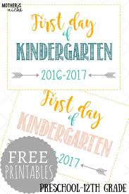first day of signs free printables pre 12th grade