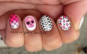 cute square nail designs pink skulls 2c leopard 2c polka dots 2c
