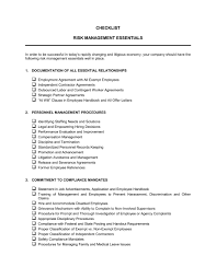 checklist risk management essentials template u0026 sample form