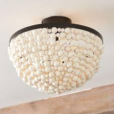 wood bead ceiling light white wood beads ceiling mount