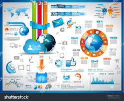 infographic elements set paper tags technology stock vector infographic elements set of paper tags technology icons cloud cmputing graphs