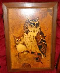 Ebay Home Interior Vintage Home Interior Dad And Little Henry Owl Print Picture Wood