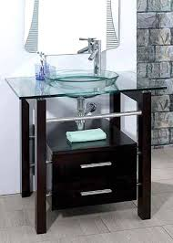 Bathroom Tempered Clear Glass Vessel Sink  Vanity Cabinet W - Bathroom vanity cabinet for vessel sink