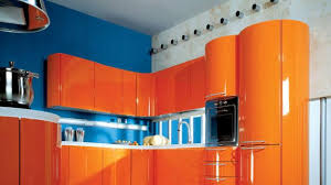 Orange Color Kitchen Design Blue Wall Paint And Orange Kitchen - Orange kitchen cabinets