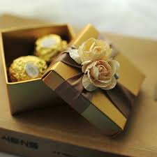 gift box with ribbon gold square box with ribbon flower decoration wedding favor golden