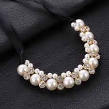 necklace rhinestone images Lace chain choker necklace hi end vivi big imitation pearl jpg