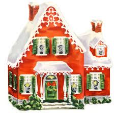 retro clip art darling christmas cottage the graphics fairy