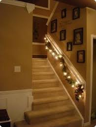 interior wooden stairs railing christmas decor indoor white paint