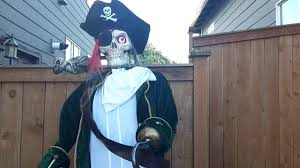 Halloween Skeleton Props by Skeleton Pirate With Parrot Halloween Haunted House Prop Youtube