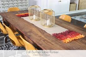 Coffee Table Runners Fall Burlap Table Runner No Sew Dream Book Design