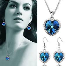 titanic blue heart necklace images Titanic heart of the ocean blue crystal necklace girlfriend gift jpg