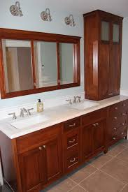 Craftsman Bathroom Vanities by Stained Red Birch Double Vanity Hutch And Double Medicine Cabinet