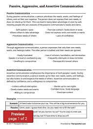 passive aggressive and assertive communication worksheet