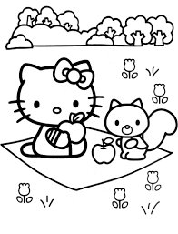 hello kitty coloring pages in garden coloringstar
