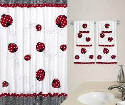 lovely ladybug fabric bath shower curtain for girls at bathroom