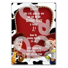 story jessie woody cowgirl boy personalized invitations