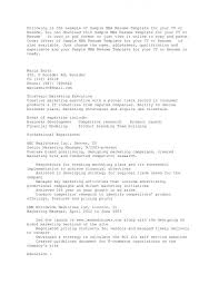 Mba Resume Format by Ideas Collection Sample Cover Letter For Mba Admission About