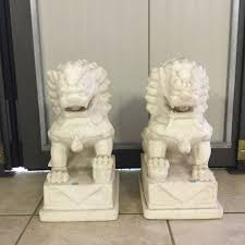 marble foo dogs pair of marble foo dogs china 2nd half of the 20th century