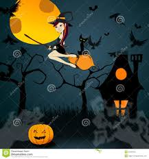 haunted house happy halloween witch and black cat stock vector