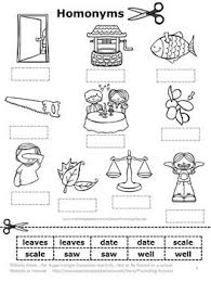 free download homonyms word work cut and paste vocabulary