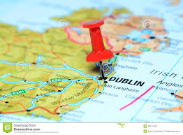 A Map Of Europe Dublin Pinned On A Map Of Europe Stock Photo Image 43571226