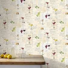 Wallpaper For Kitchen Walls by Graham And Brown Cocktail Drinks Wallpaper For Kitchen Wall Vinyl