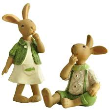 rabbit home decor green ornament hand rabbit bunny resin figurine gift for friend home