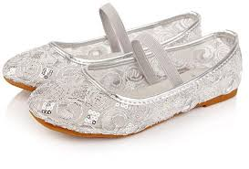 luxury kid silver shoes beautiful lace flower party shoes little