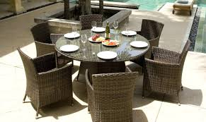 Round Wicker Outdoor Dining Setting Wicker Patio Furniture - 7 piece outdoor dining set with round table